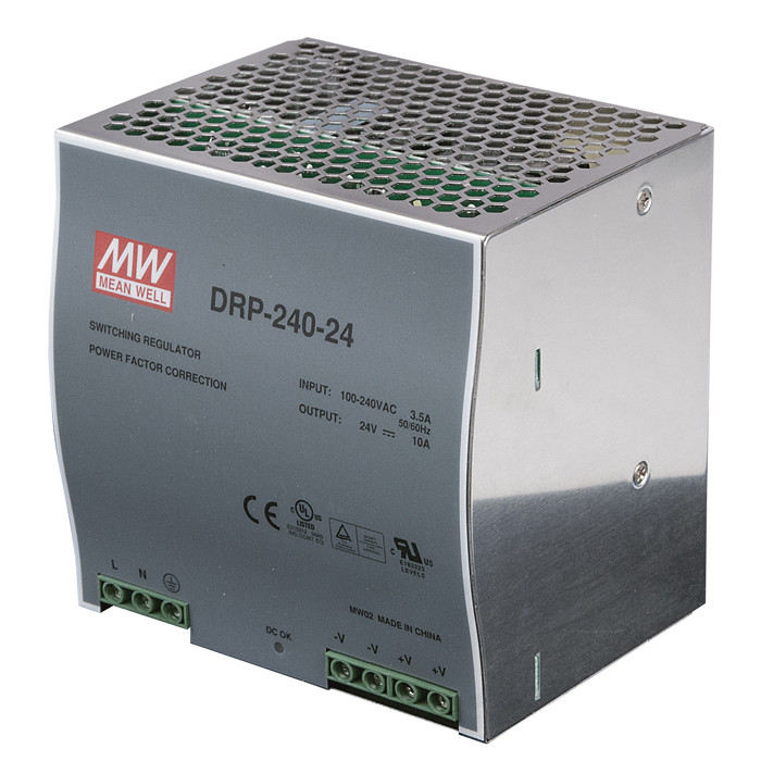 Meanwell LED Power Supply Dinrail 240 W 24 VDC